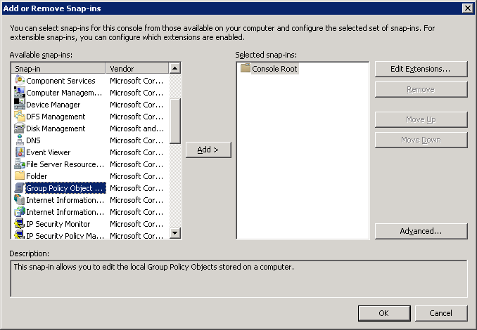 from the file menu select addremove snap ins scroll down the list of available snap ins highlight group policy object and then click the add button